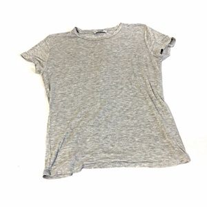 Zara SZ L  Knit Shirt Short Sleeve Gray Tee