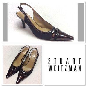 8M STUART WEITZMAN Pointed toe slingback heels