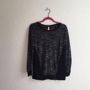 Xhilaration long sleeve black, white lace top