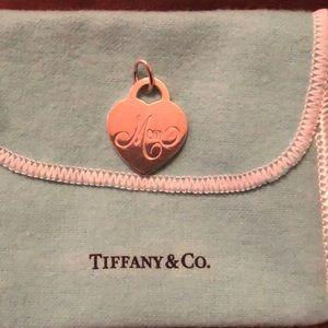 """Tiffany & Co """"Mom"""" Heart Tag Charm"""