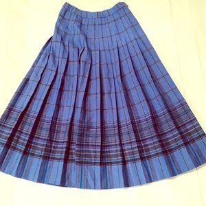 Pendleton Authentic Virgin Wool Pleated Skirt Blue