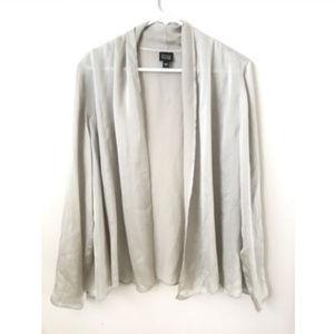 Eileen Fisher Grey Silk Cardigan Cape Open Front