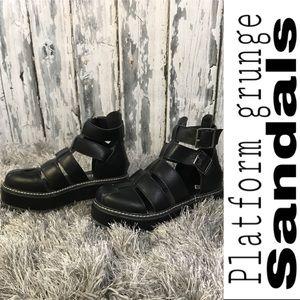 Black platform grunge sandals