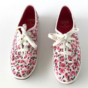 Kate Spade X Keds White Pink Floral Print Sneakers