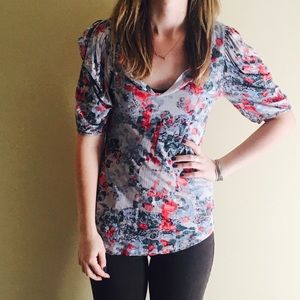 Anthropologie top with rushed sleeves