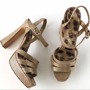 Sam Edelman Metallic Gold Leather Sandal Heels