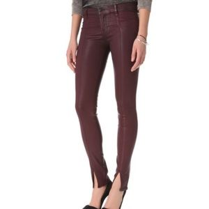 J Brand for Intermix Coated Oxblood Skinny Jean 24