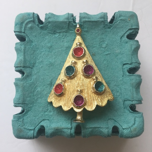 Christmas Brooches And Pins.Vintage Art Deco Christmas Brooch Pin