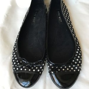 Nine West Polkadot Flats with Bow - Black & White