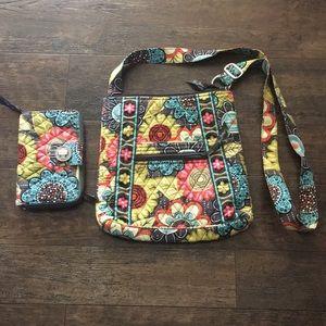 Vera Bradley crossbody/Hipster w/matching wallet
