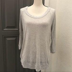 Anthro Pleione Shirt Women's Blouse Medium Gray