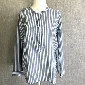 { J. Crew } NWT Collarless Popover Shirt MSRP $78