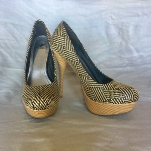 Black and Tan Woven Heels