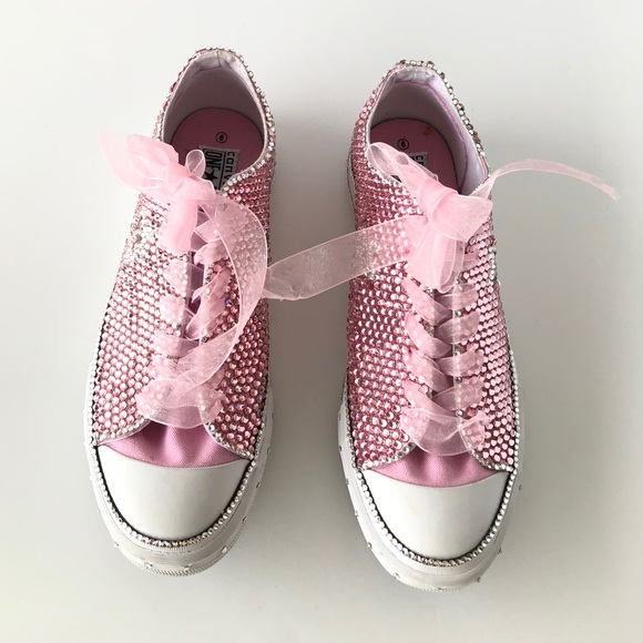 109bb61a2 Converse Shoes | Pink White Swarovski Studded Low Sneakers | Poshmark