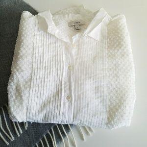 J.Crew | Swiss Dot Tuxedo White Shirt