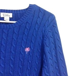 Lilly Pulitzer Navy Cable-Knit Crewneck Sweater