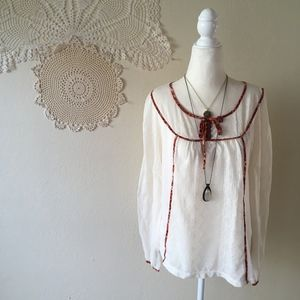 C Keer long sleeve lacey boho button peasant top