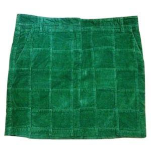 Loft Green Corduroy Windowpane Plaid Mini Skirt