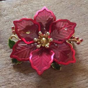 Vintage Poinsettia Brooch