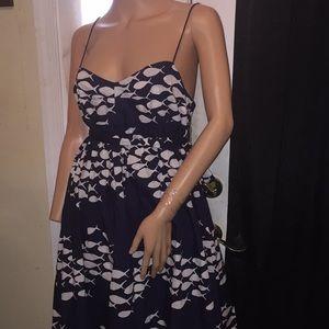 J Crew spaghetti strap belted dress w/fish pattern