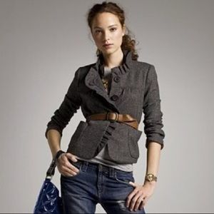Fiona Ruffled Wool Overcoat by J. Crew, 8
