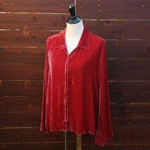 J.Jill Cranberry Red Velvet Boho Cut Jacket