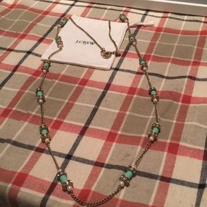 J. Crew teal pearl and sparkle necklace