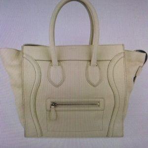 Celine Pebble leather mini luggage tote bag beige