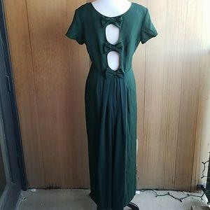 Vintage deep green bow back maxi dress