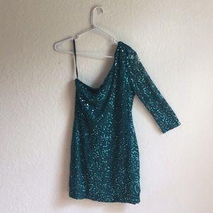 As U Wish Green sequin asymmetrical mini dress!!