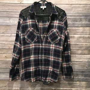 Express Boyfriend Plaid Flannel with Sequence
