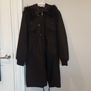 French Connection Black Furry Hooded Coat