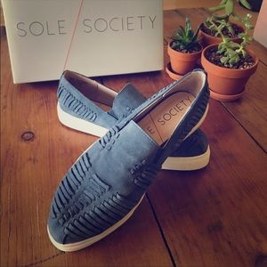 Suede Blue Slip-on Shoes