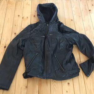Black Hooded Leather Moto Jacket