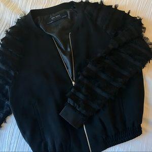Zara black fringe bomber