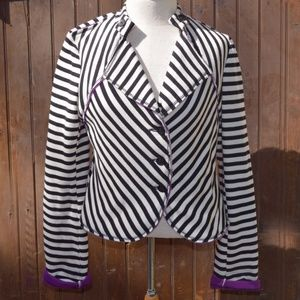 Black/White, Striped Jacket Blazer Anthropologie