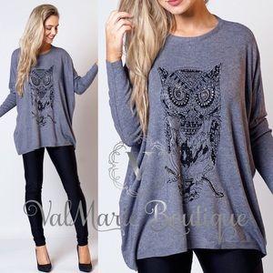 📍LAST📍Buttery Soft Rhinestone Owl Sweater
