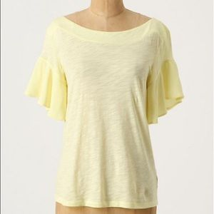 •Deletta• Yellow Water Wing Top Flutter Boat Neck