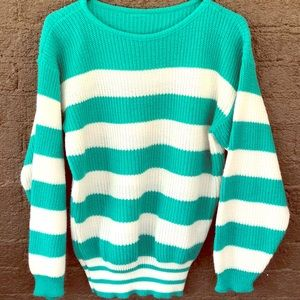 Teal/White Striped Sweater