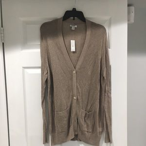 tanish/brown long light knit open front cardi