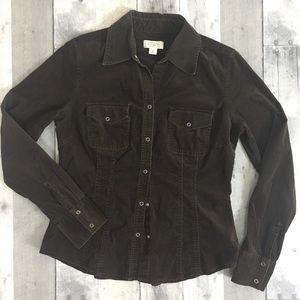 LOFT Brown Corduroy Snap Collared Shirt