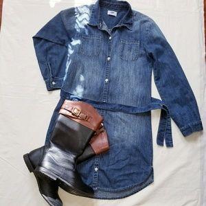 Girls denim belted shirt dress