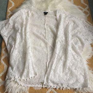 white rue 21 lace cardigan size XL