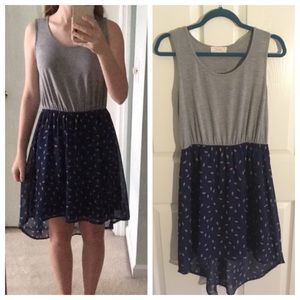Grey and blue dress with print size medium