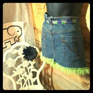 Upcycled half jean apron with green ruffles