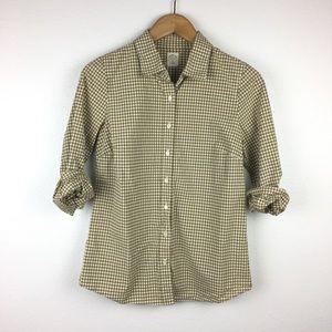 J.Crew Tan Gingham Perfect Button Up Shirt