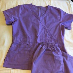 Purple scrub set (top & bottom) size Small
