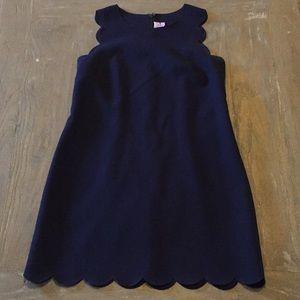 J. Crew Navy Scallop Dress
