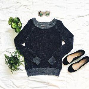 Gap marled blue crewneck pullover sweater