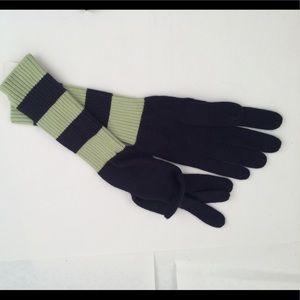 Navy & Green Striped Gloves GAP Longer